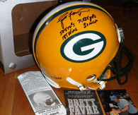 GREEN BAY PACKERS BRETT FAVRE AUTOGRAPHED SIGNED CAREER STAT PROLINE #97 (3rd MVP Year & SB XXXI year) LIMITED EDITION HELMET LE BFA Authentic COA HOLOGRAM Signing photo