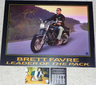 GREEN BAY PACKERS BRETT FAVRE 4 AUTOGRAPHED AUTO LEADER OF THE PACK HARLEY PHOTO