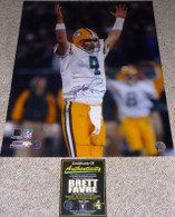 GREEN BAY PACKERS BRETT FAVRE 4 AUTOGRAPHED MNF TD RAIDERS 16x20 PHOTO FARVE COA