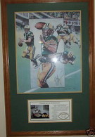BRETT FAVRE 4 AUTOGRAPHED LAST GAME AT COUNTY STADIUM THE DIVE vs ATLANTA FALCONS FRAMED LITHOGRAPH COA