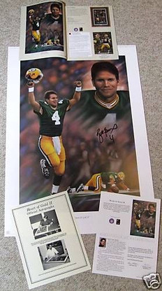 BRETT FAVRE 4 AUTOGRAPHED SIGNED GREEN BAY PACKERS SUPER BOWL 31 SB XXXI HEART OF GOLD II LITHOGRAPH COA