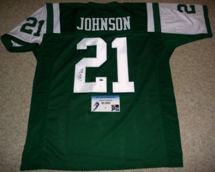 CHRIS JOHNSON Autographed Signed NY NEW YORK JETS #21 Jersey GTSM COA HOLOGRAM