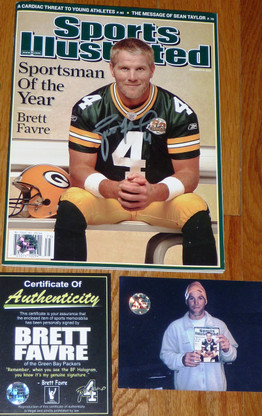 GREEN BAY PACKER BRETT FAVRE SIGNED SPORTSMAN OF THE YEAR SPORTS ILLUSTRATED COA