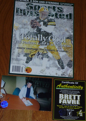 GREEN BAY PACKERS BRETT FAVRE 4 SIGNED LAMBEAU FIELD SI Totally Cool SPORTS ILLUSTRATED COA HOLO