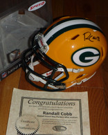 RANDALL COBB 18 AUTOGRAPHED SIGNED GB GREEN BAY PACKERS SPEED RIDDELL MINI HELMET Genesco COA