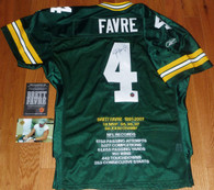 Brett Favre hand-signed  4 INSCRIBED  GREEN BAY PACKER  RECORD STAT Embroidered  Reebok Authentic  Size 48 NFL Equipment Home Jersey  with Official Brett Favre   matching numbered hologram  on jersey, COA,  & signing photo!