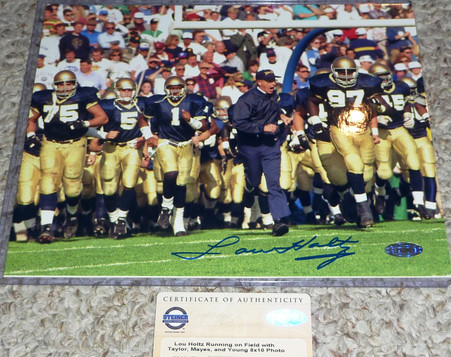 LOU HOLTZ Signed 8x10 photo in top loader w Steiner Sports Hologram and COA Authentication.