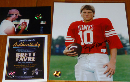 GREEN BAY PACKERS BRETT FAVRE 10 AUTOGRAPHED Hancock High School 8x10 PHOTO Triple Matching Holograms with Official Brett Favre COA, signing photo with toploader