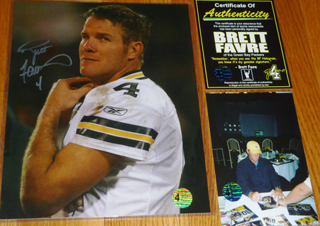 GREEN BAY PACKERS BRETT FAVRE 4 AUTOGRAPHED SIGNED MNF VS RAIDERS 8x10 PHOTO COA