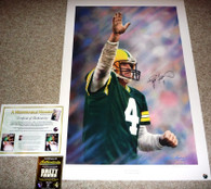 GREEN BAY PACKERS BRETT FAVRE 4 AUTOGRAPHED SIGNED A MEMORABLE MOMENT LIMITED EDITION GORALSKI LITHOGRAPH COA Brett Favre Authentic COA Holograms