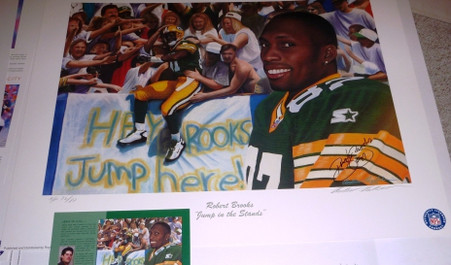 GREEN BAY PACKERS ROBERT BROOKS #87 AUTOGRAPHED SIGNED JUMP in the Stands LIMITED EDITION Artist Proof 72 of ONLY 87 A/P Andy GORALSKI LITHOGRAPH COA