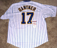 Jim Gantner hand-signed  Custom Milwaukee Brewers  Pinstripe Jersey  with Official James Spence JSA matching numbered COA &  hologram!