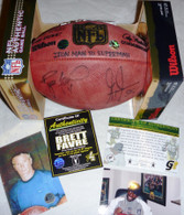 GREEN BAY PACKERS BRETT FAVRE GREG JENNINGS SIGNED IRONMAN LIMITED EDITION #4 FOOTBALL FARVE Authentic COA Photo plus GJ 85 COA Hologram Photo
