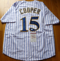 Milwaukee Brewers Cecil Cooper Signed 5X All Star inscribed PinStripe Jersey JSA