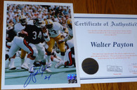 Walter Payton Signed 34 Inscribed Chicago Bears    8x10   vs Green Bay Packers Vintage Photo with Walter Payton   Authentic  Celebrity Appearances   Numbered Hologram   matching numbered   COA Authentication.   Includes acrylic toploader!