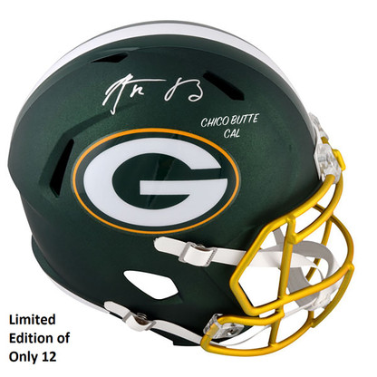 "PREMIUM #12 of 12 - Aaron Rodgers Signed Green Bay Packers Full Size Replica Blaze Helmet With ""Chico Butte CAL"" inscription - Limited Edition of ONLY 12"
