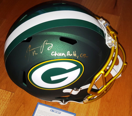 """PREMIUM #2 of 12 - Aaron Rodgers GOLD Signed Green Bay Packers Full Size Blaze Helmet With """"Chico, Butte, CAL"""" inscription - Limited Edition of ONLY 12"""