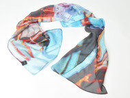 "Art Scarf , ""Strand and Bean"", 36 x 36 inches"