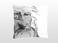 "Decorative pillow, ""Sleeping with Leonardo"", black and white"