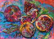 """Pomegranate.February"", Irina Kasperskaya. Oil  and acrylic on canvas, 19x27 inches, 2015"
