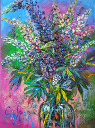 """Lupins. June"", Irina Kasperskaya. Oil  and acrylic on canvas, 19x27 inches, 2015"