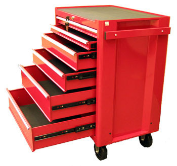 Six Drawer Metal Roller Cabinet (Red)