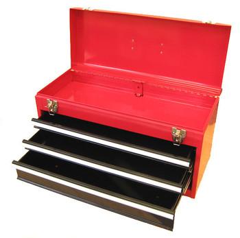 Three Drawer Portable Metal Toolbox (Red)