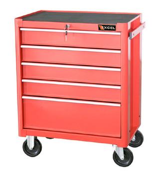 Five Drawer Metal Tool Cabinet (Red)