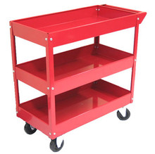 Three Tray Metal Rolling Cart (Red or Blue)