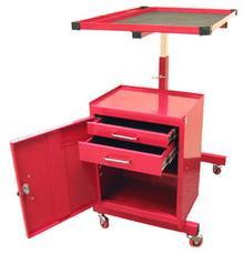 Two Drawer Rolling Metal Tool Cart (Red)