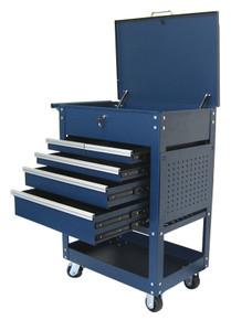 Two Tray (5 Drawer) Metal Rolling Tool Cart (Blue)