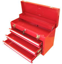 Three Drawer Portable Metal Toolbox (Red or Black)