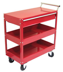 Two Tray (One Drawer) Metal Rolling Tool Cart (Red)
