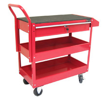 Two Tray (One Drawer) Metal Rolling Tool Cart (Red) 1