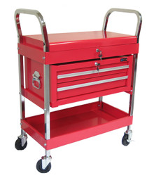 Two Tray (Two Drawer) Metal Rolling Tool Cart (Red)
