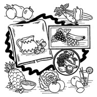 Embroidery Transfer Pattern Aunt Martha's #3632 Fruit & Vegetable Motifs