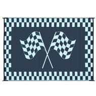 Reversible Black White Racing Flag RV Outdoor Patio Mat/Rug/Carpet  6 x 9