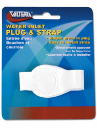 "Valterra Water Inlet Plug, 3/4"", with Strap, White, Carded"