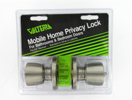 Valterra Door Lock, Bathroom/Bedroom Privacy, Knob x Knob, SS, Clam Shell