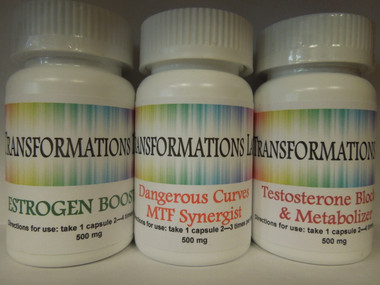 3 Pack MTF System - 1 bottle Estrogen Booster, 1 bottle Testosterone Blocker & 1 bottle Dangerous Curves ~ MTF Synergist.