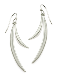 "Double Curved Bar Silver Earrings by Philippa Roberts Jewelry based in Oakland, CA. Brushed silver bars on silver french wires hanging 2 1/4""."