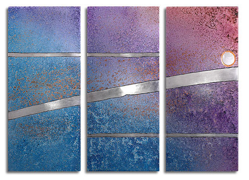 """Reflection"" triptych, in evening sky color, by Robert Rickard.  32x52, Unique aluminum wall art."