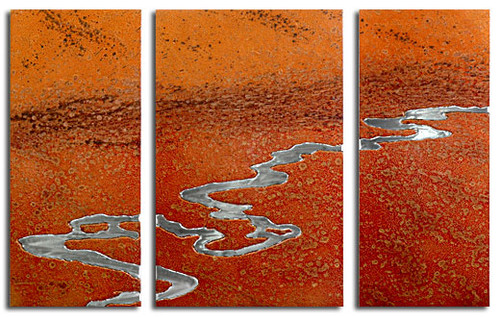 """Moon River"" triptych, Desert color, by Robert Rickard.  32x52, Unique aluminum wall art."