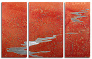 """Transition"" triptych, Desert color, by Robert Rickard.  32x52, Unique aluminum wall art."