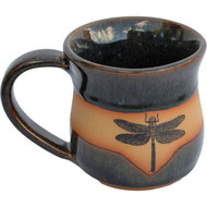 Large Dragonfly Mug shown in the Seamist glaze is Completely functional : dishwasher, microwave and food safe.  Always Azul mugs are available in several glaze colors and decal options.