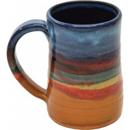 Small Tankard in Azulscape Glaze. Completely functional : dishwasher, microwave and food safe.  Always Azul mugs are available in several glaze colors and decal options.  Please call to check availability of current glaze colors, designer decals and Wrap Scenes.