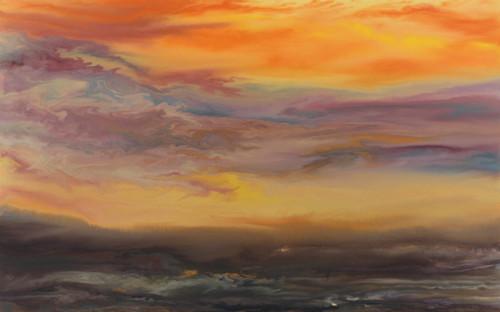 """Sunset Reflections I"" by Kimberly Conrad, 28""x45""x1.5"""