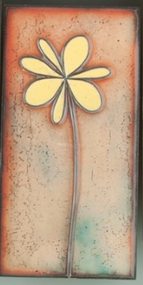 """Petite Pansy"" in Yellow by Jenn Bell 3x6 glass on copper tile"