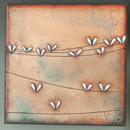 """Extroverts"" by Jenn Bell 8x8 glass on copper"