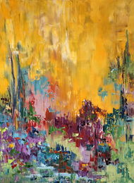 """Unending Joy"" by Dawn Reinfeld 48x36"", an orginal oil painting. Dawn Reinfeld uses bright colors and layers of paint to create expression as a source of freedom and joy."